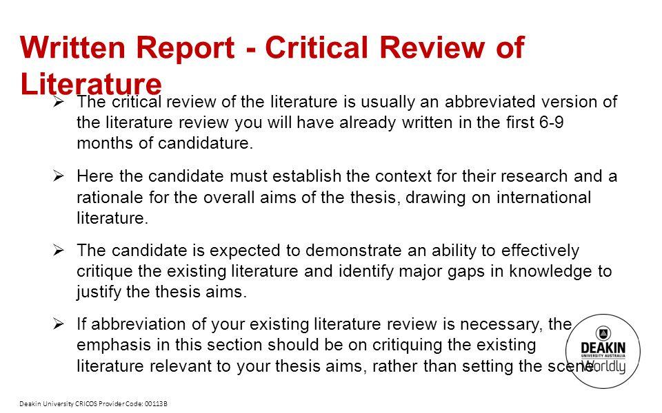 Written Report - Critical Review of Literature