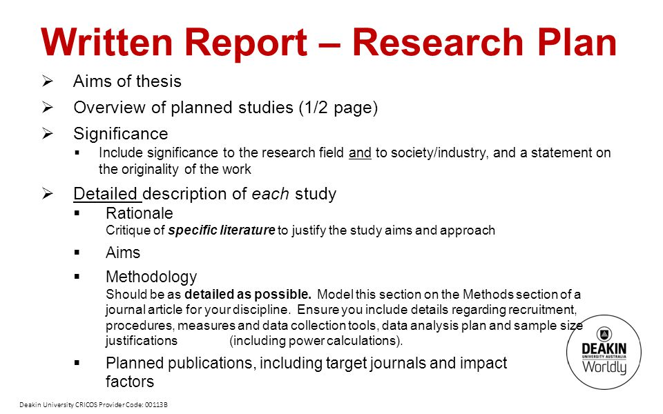 Written Report – Research Plan