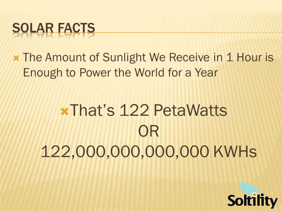 Solar Facts 1300 Watts of Solar Energy per Square Meter Impact the Upper Atmosphere.