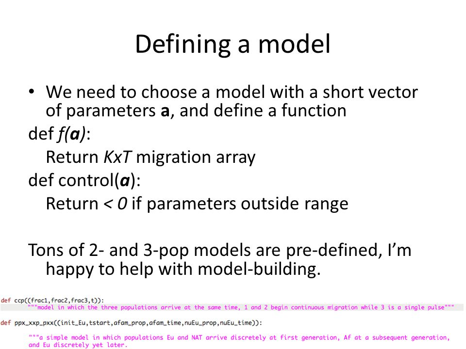 Defining a model We need to choose a model with a short vector of parameters a, and define a function.