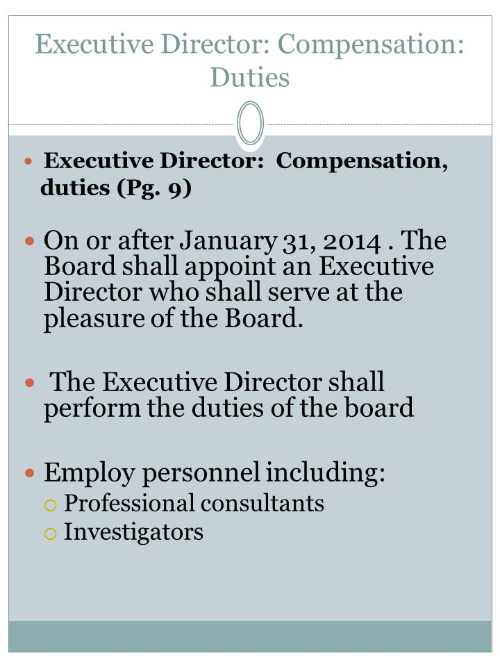 Executive Director: Compensation: Duties