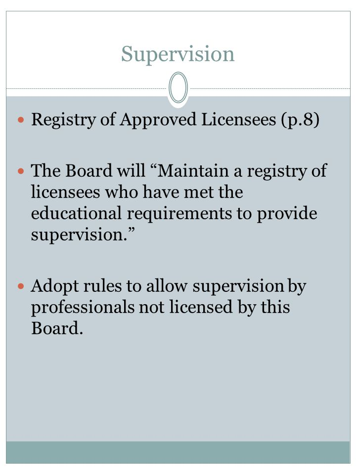 Supervision Registry of Approved Licensees (p.8)