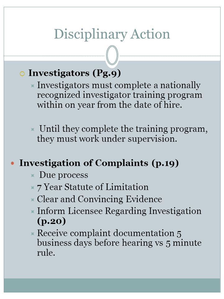 Disciplinary Action Investigators (Pg.9)