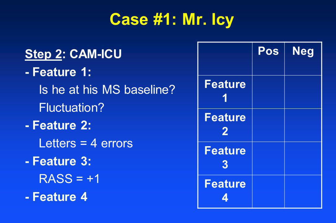 Case #1: Mr. Icy Step 2: CAM-ICU - Feature 1: