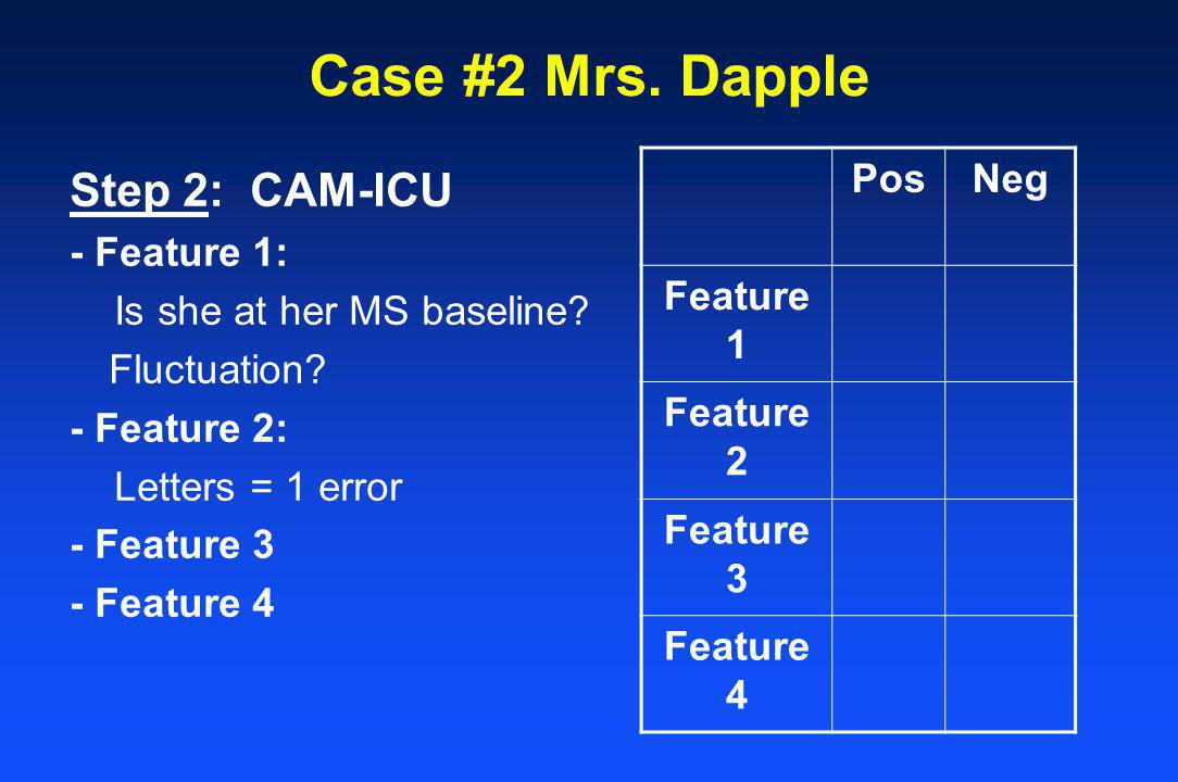 Case #2 Mrs. Dapple Step 2: CAM-ICU Pos Neg Feature 1 Feature 2