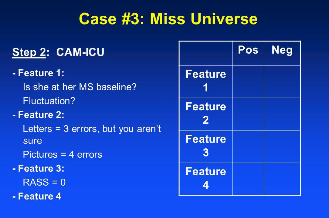Case #3: Miss Universe Pos Neg Feature 1 Feature 2 Feature 3 Feature 4