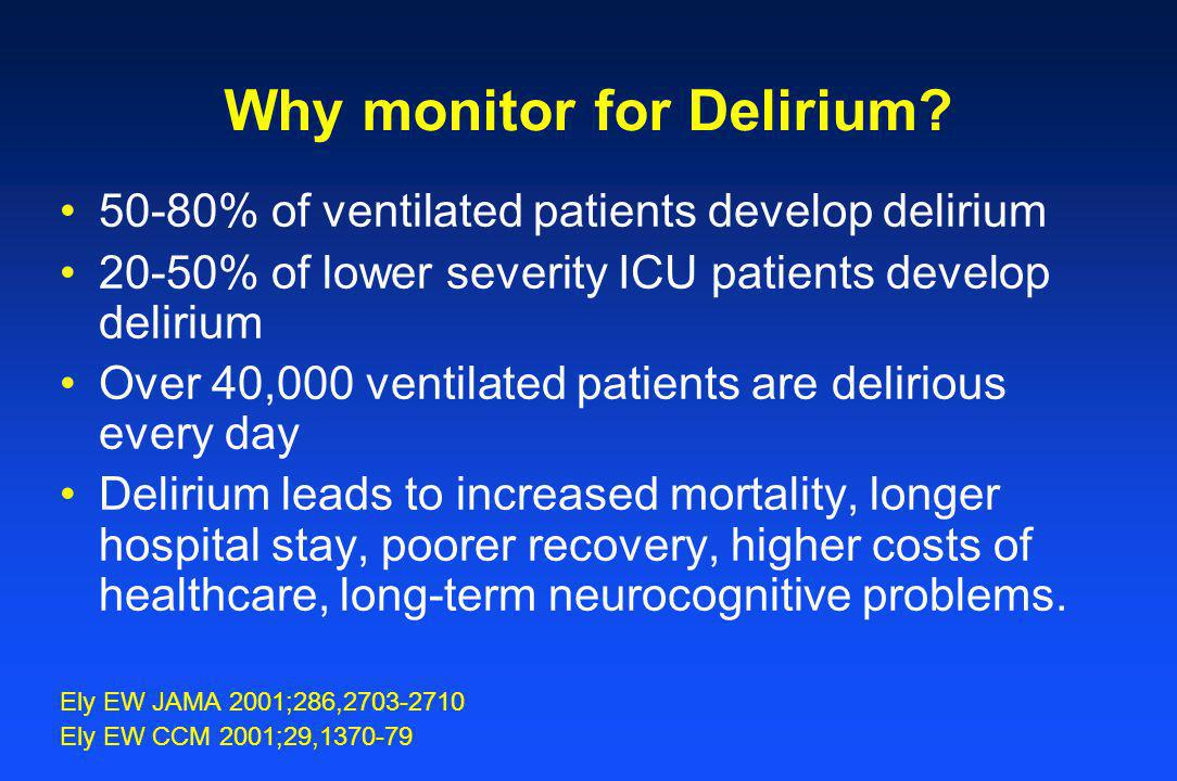 Why monitor for Delirium