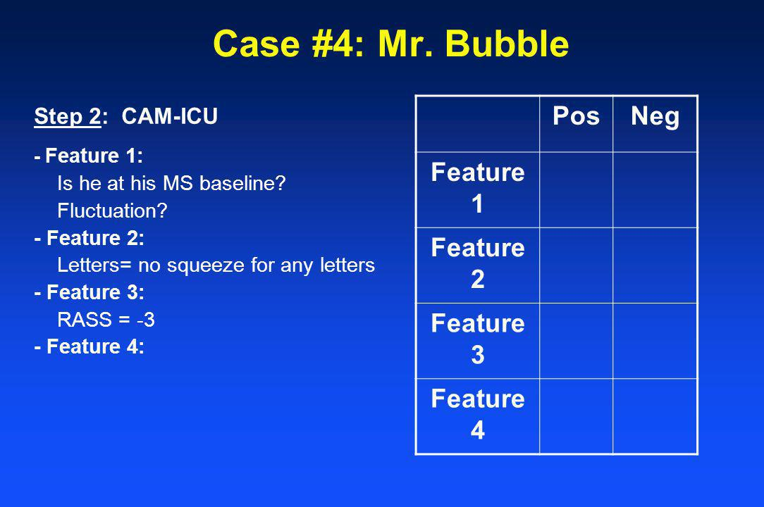 Case #4: Mr. Bubble Pos Neg Feature 1 Feature 2 Feature 3 Feature 4