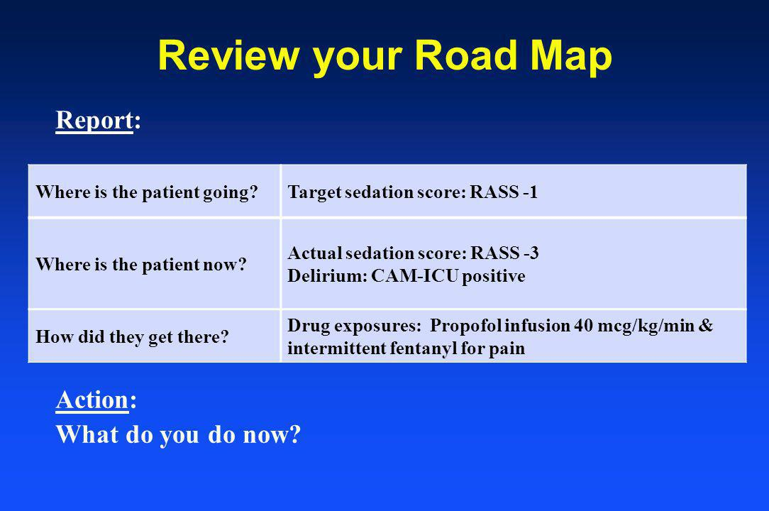 Review your Road Map Report: Action: What do you do now