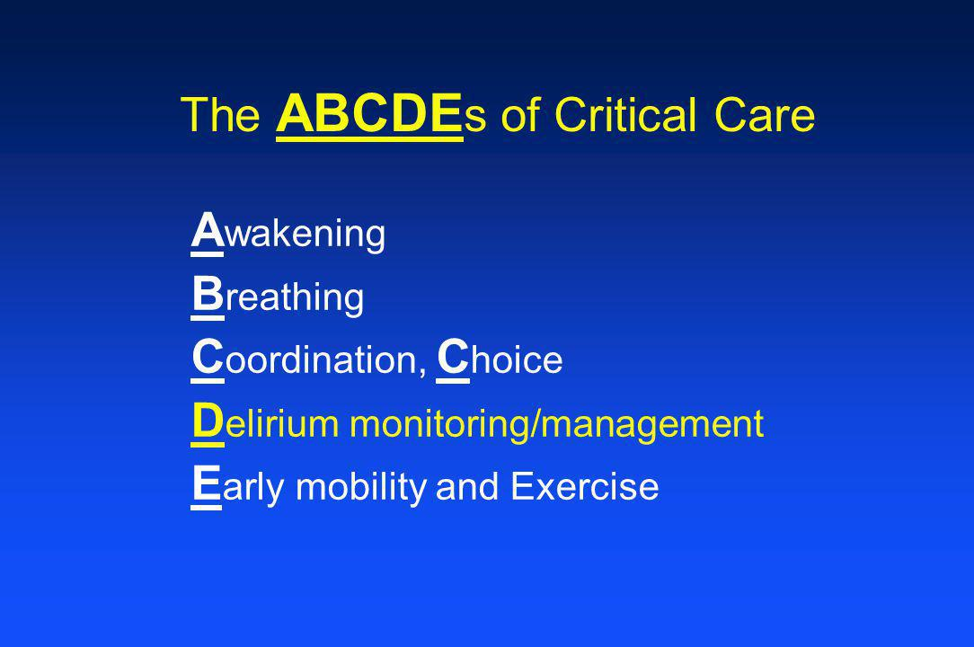 The ABCDEs of Critical Care