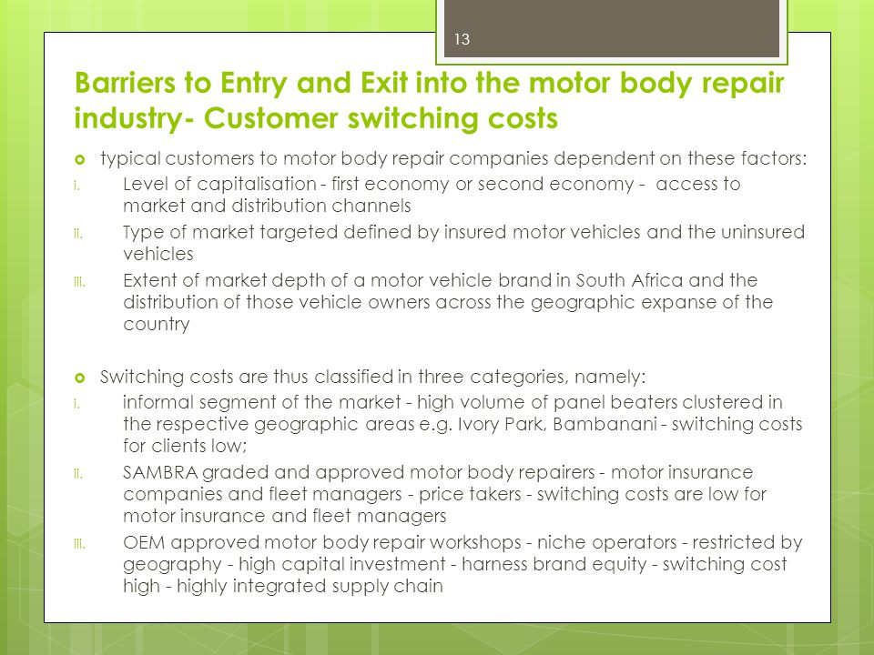 Barriers to Entry and Exit into the motor body repair industry- Customer switching costs