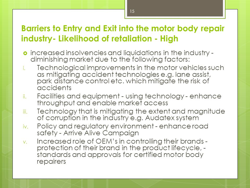 Barriers to Entry and Exit into the motor body repair industry- Likelihood of retaliation - High