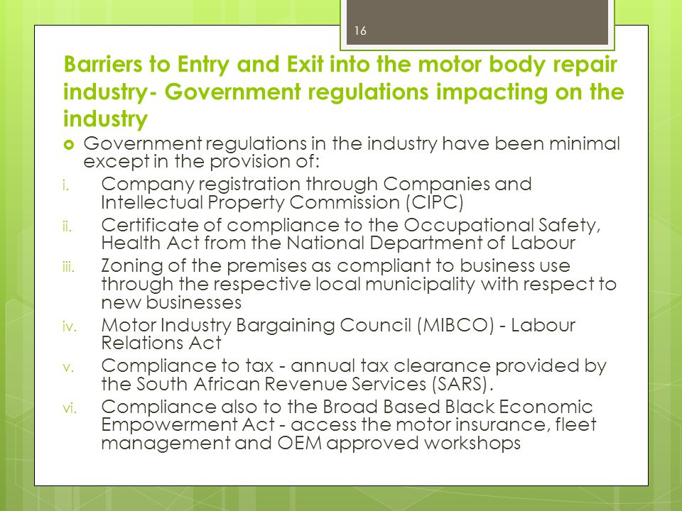 Barriers to Entry and Exit into the motor body repair industry- Government regulations impacting on the industry