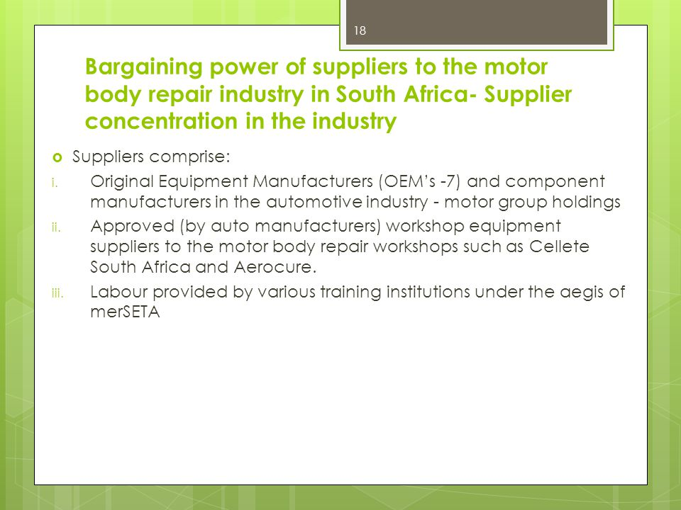 Bargaining power of suppliers to the motor body repair industry in South Africa- Supplier concentration in the industry