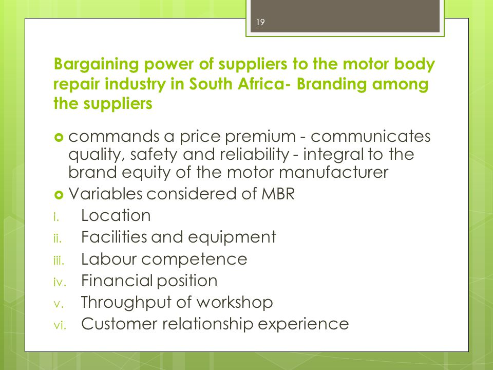 Bargaining power of suppliers to the motor body repair industry in South Africa- Branding among the suppliers