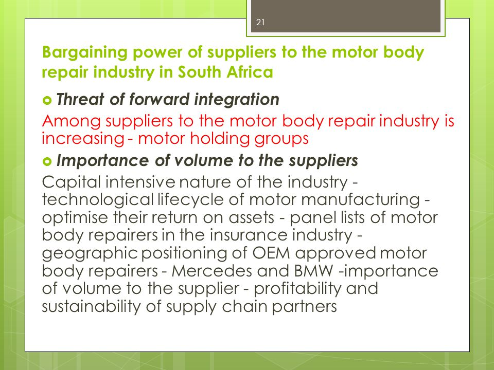 Bargaining power of suppliers to the motor body repair industry in South Africa