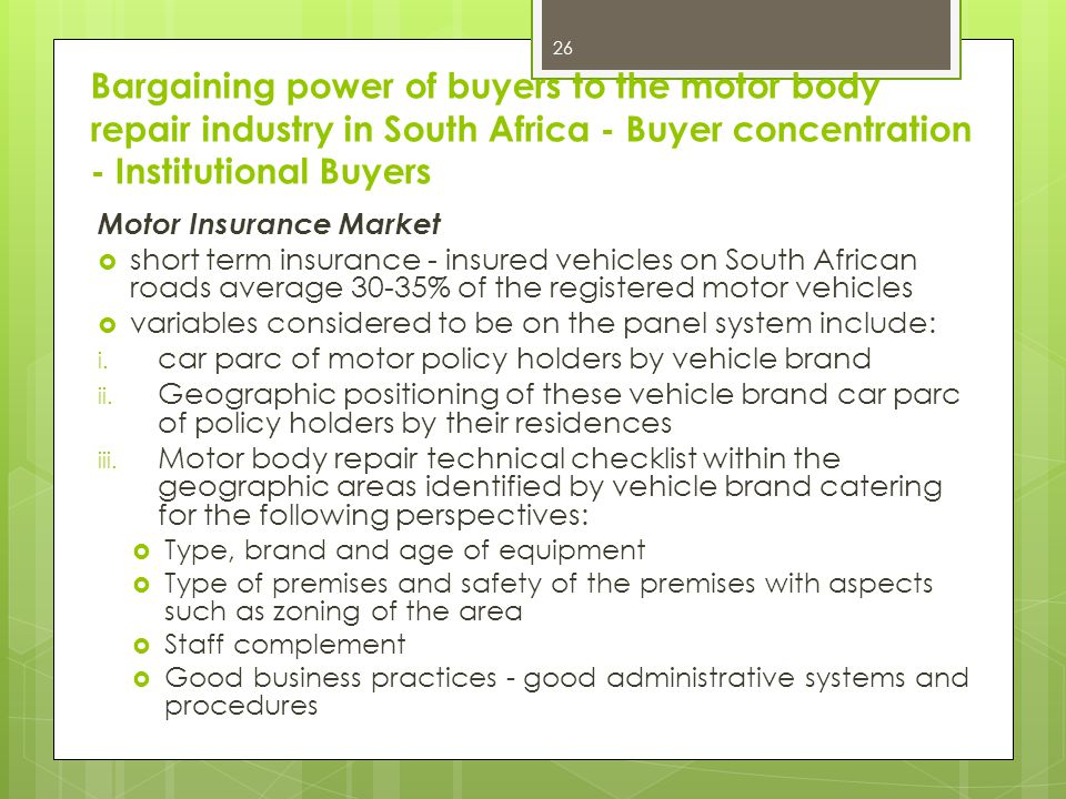 Bargaining power of buyers to the motor body repair industry in South Africa - Buyer concentration - Institutional Buyers