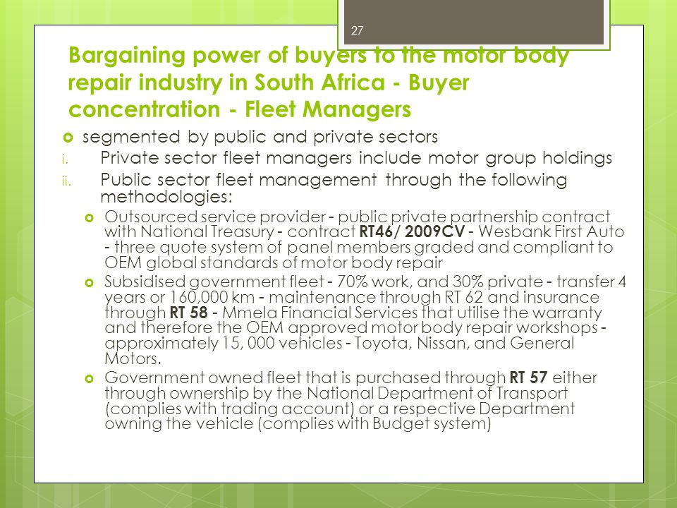 Bargaining power of buyers to the motor body repair industry in South Africa - Buyer concentration - Fleet Managers