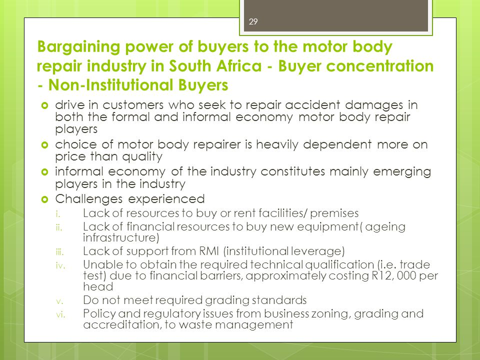 Bargaining power of buyers to the motor body repair industry in South Africa - Buyer concentration - Non-Institutional Buyers