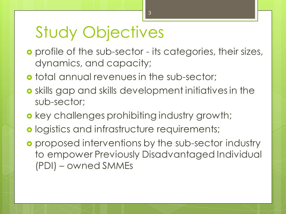 Study Objectives profile of the sub-sector - its categories, their sizes, dynamics, and capacity; total annual revenues in the sub-sector;