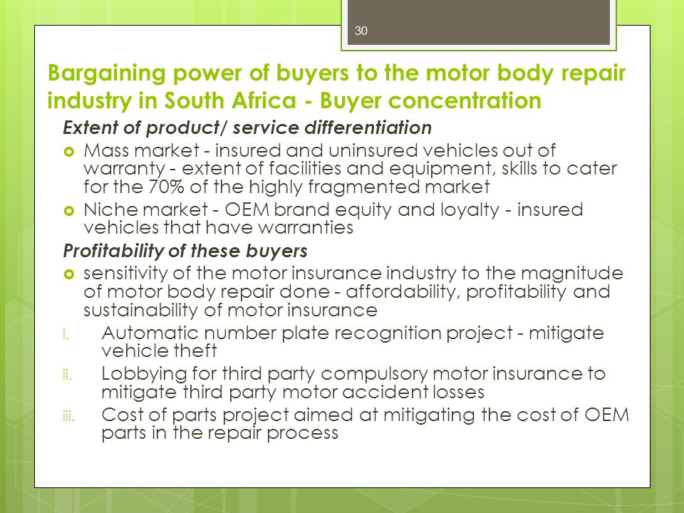 Bargaining power of buyers to the motor body repair industry in South Africa - Buyer concentration