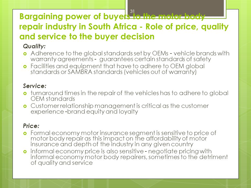 Bargaining power of buyers to the motor body repair industry in South Africa - Role of price, quality and service to the buyer decision