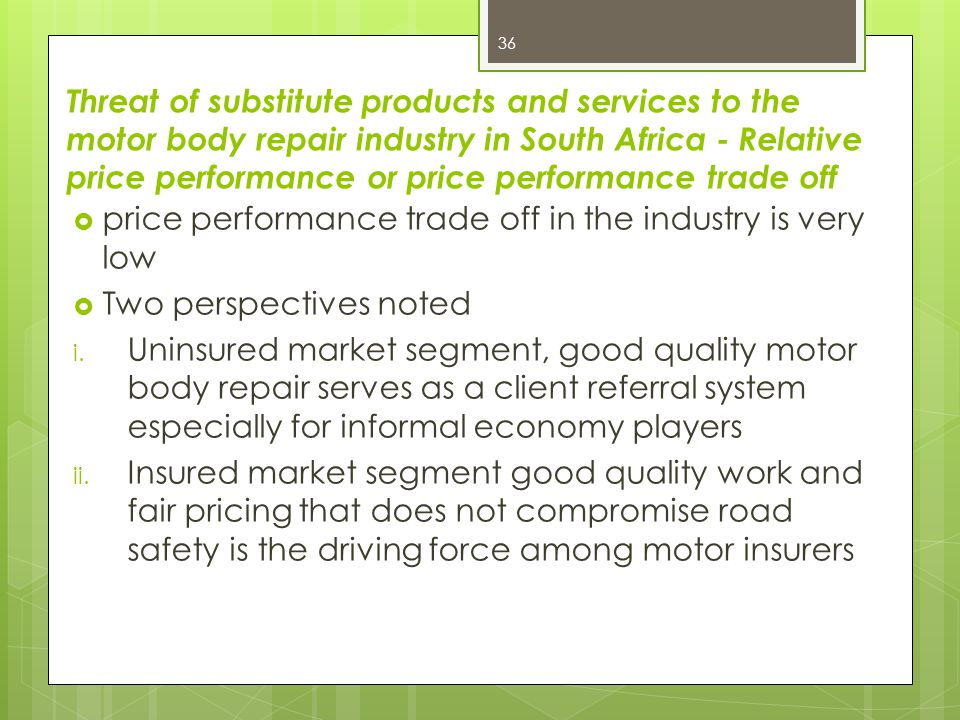 Threat of substitute products and services to the motor body repair industry in South Africa - Relative price performance or price performance trade off
