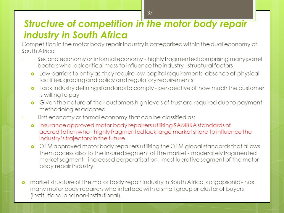 Structure of competition in the motor body repair industry in South Africa