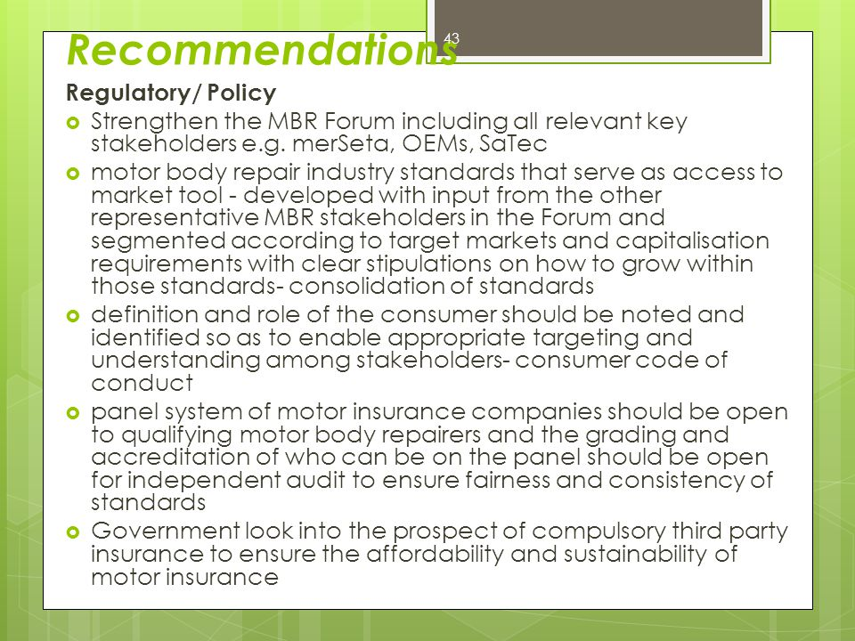 Recommendations Regulatory/ Policy