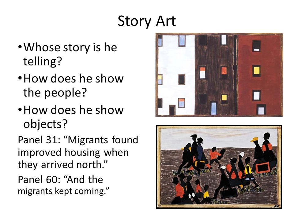 Story Art Whose story is he telling How does he show the people