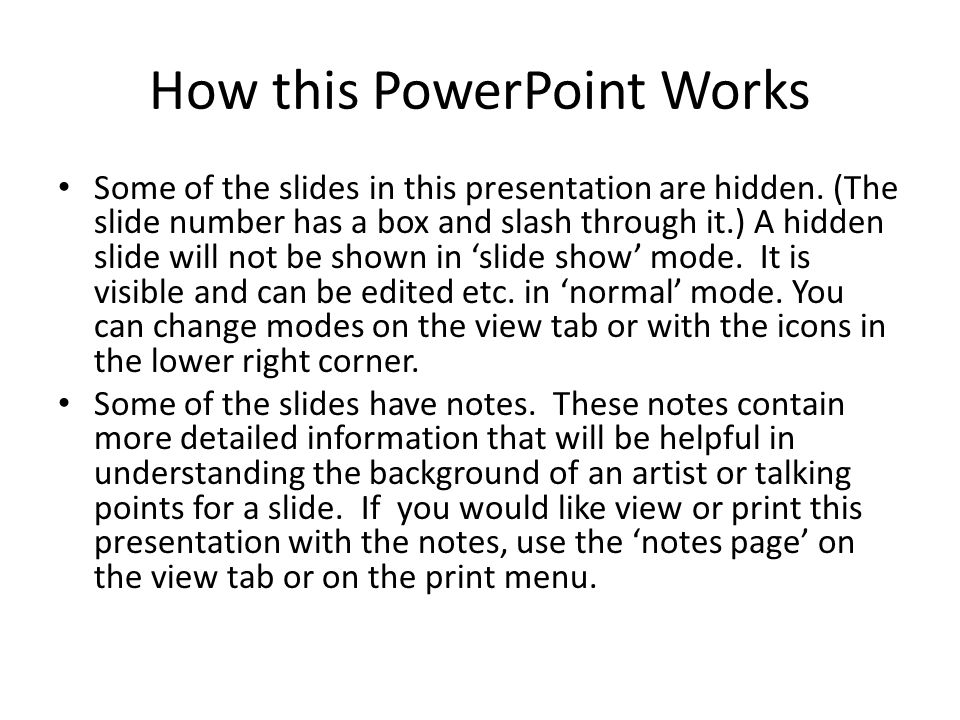 How this PowerPoint Works