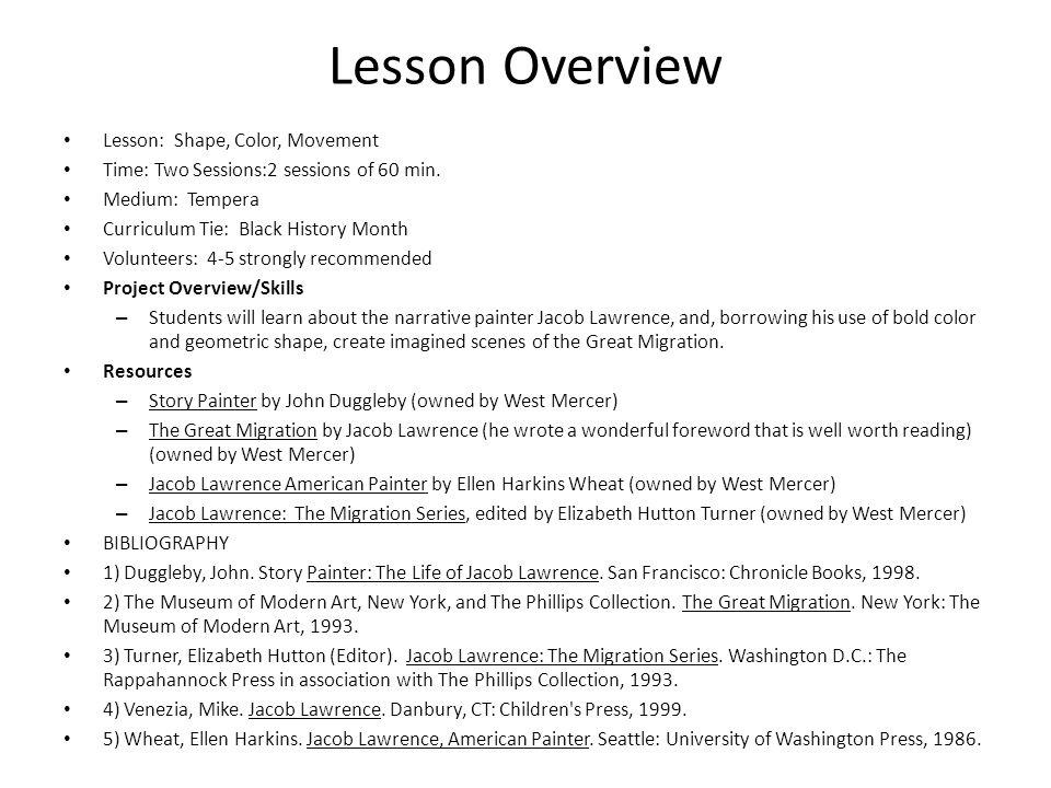 Lesson Overview Lesson: Shape, Color, Movement
