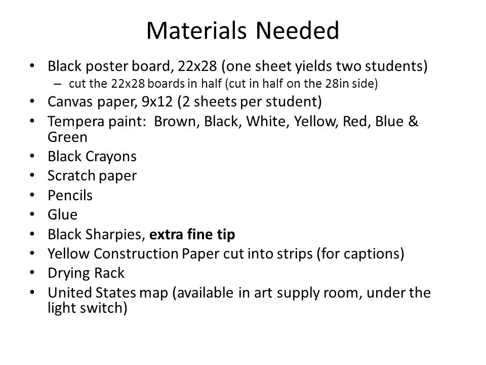 Materials Needed Black poster board, 22x28 (one sheet yields two students) cut the 22x28 boards in half (cut in half on the 28in side)