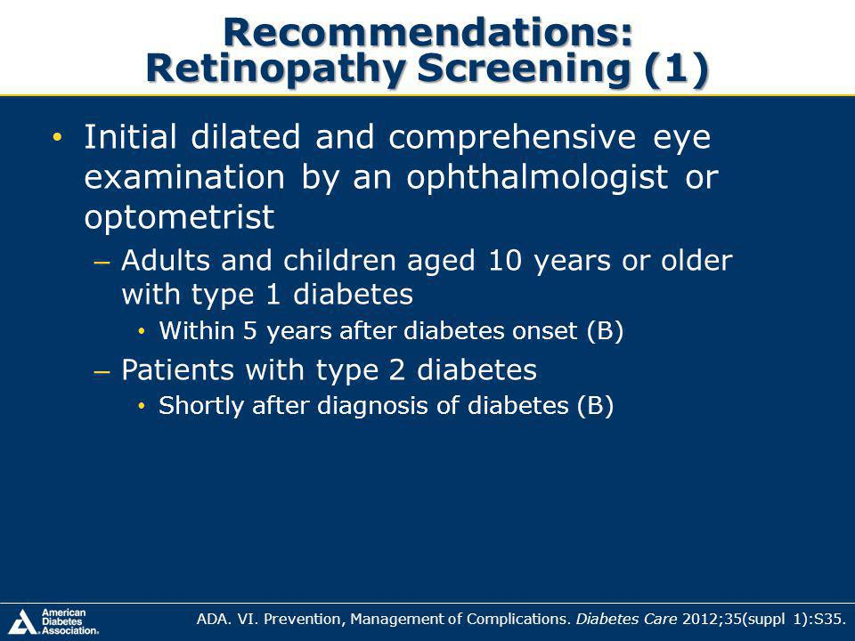 Recommendations: Retinopathy Screening (1)