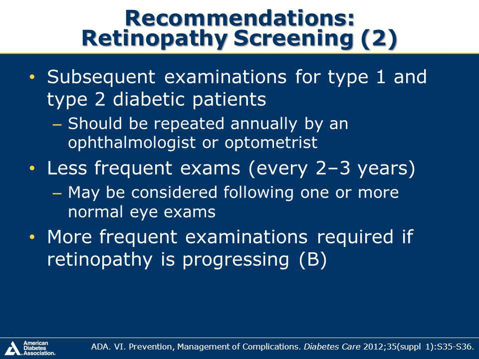 Recommendations: Retinopathy Screening (2)