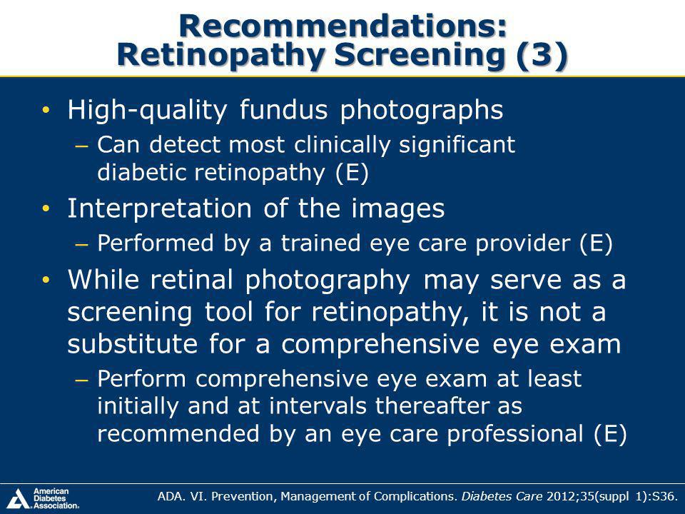 Recommendations: Retinopathy Screening (3)