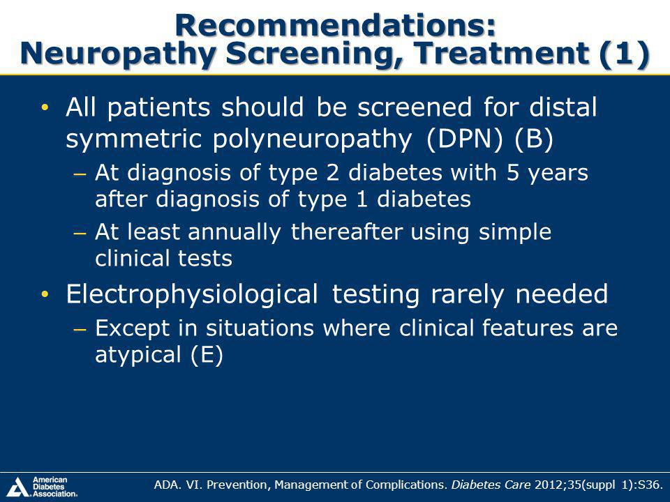 Recommendations: Neuropathy Screening, Treatment (1)