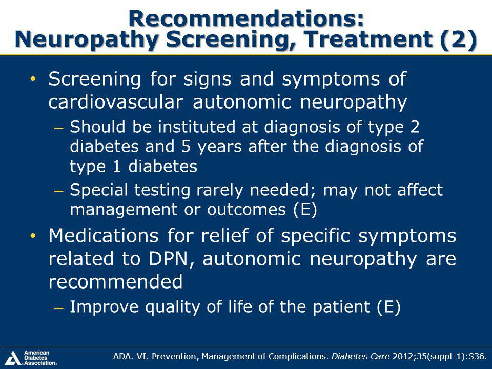 Recommendations: Neuropathy Screening, Treatment (2)