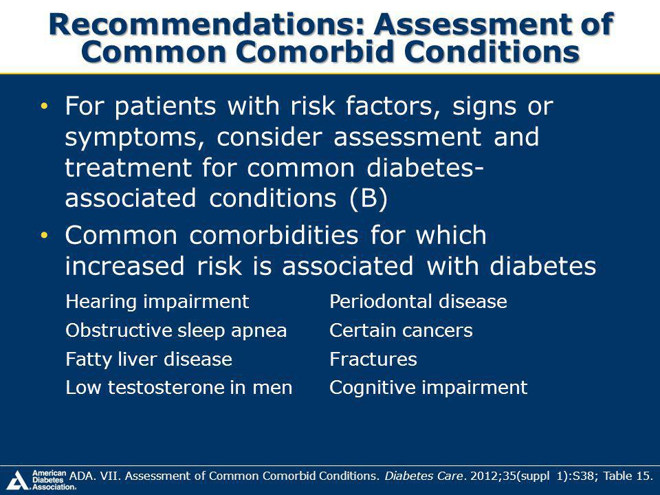 Recommendations: Assessment of Common Comorbid Conditions