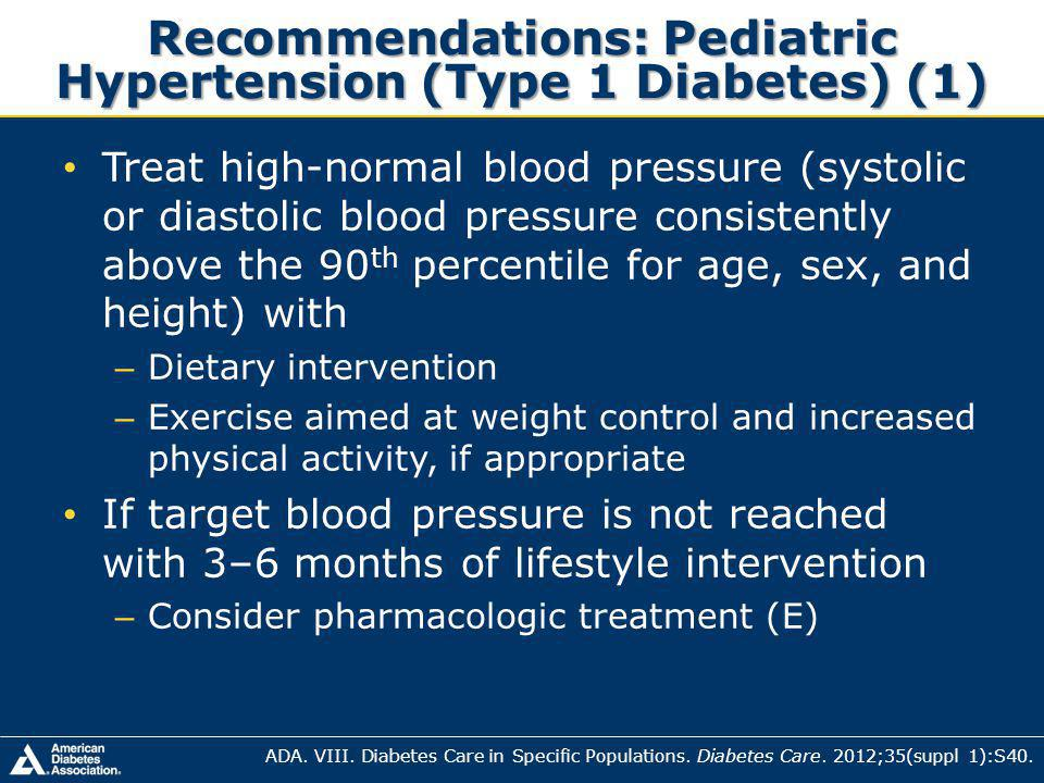 Recommendations: Pediatric Hypertension (Type 1 Diabetes) (1)