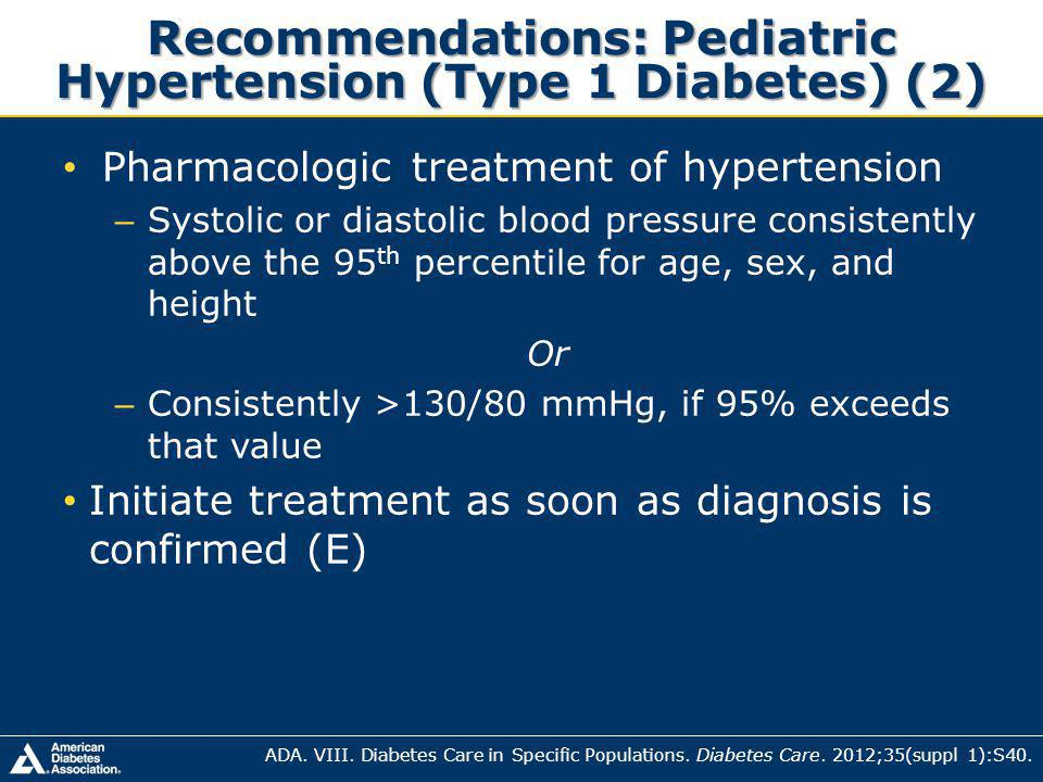 Recommendations: Pediatric Hypertension (Type 1 Diabetes) (2)