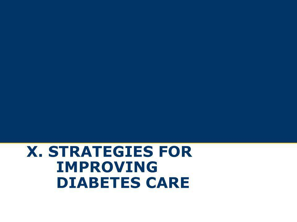 x. Strategies for improving diabetes care