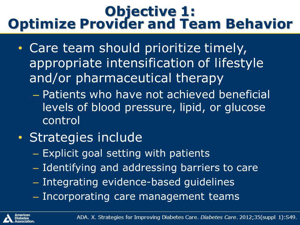 Objective 1: Optimize Provider and Team Behavior