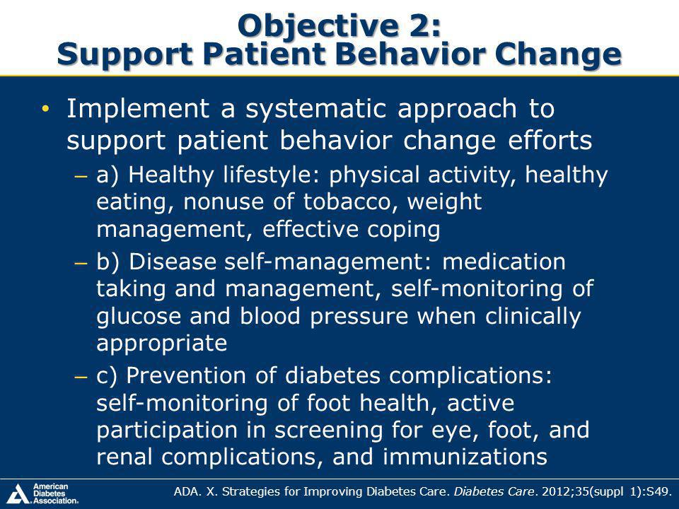 Objective 2: Support Patient Behavior Change