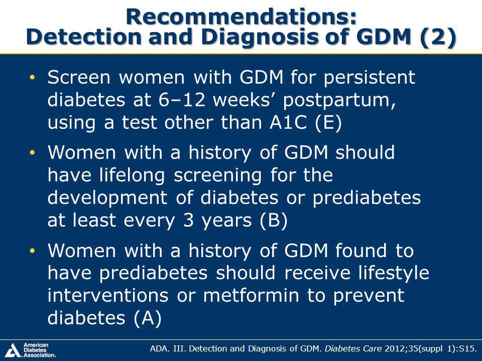 Recommendations: Detection and Diagnosis of GDM (2)
