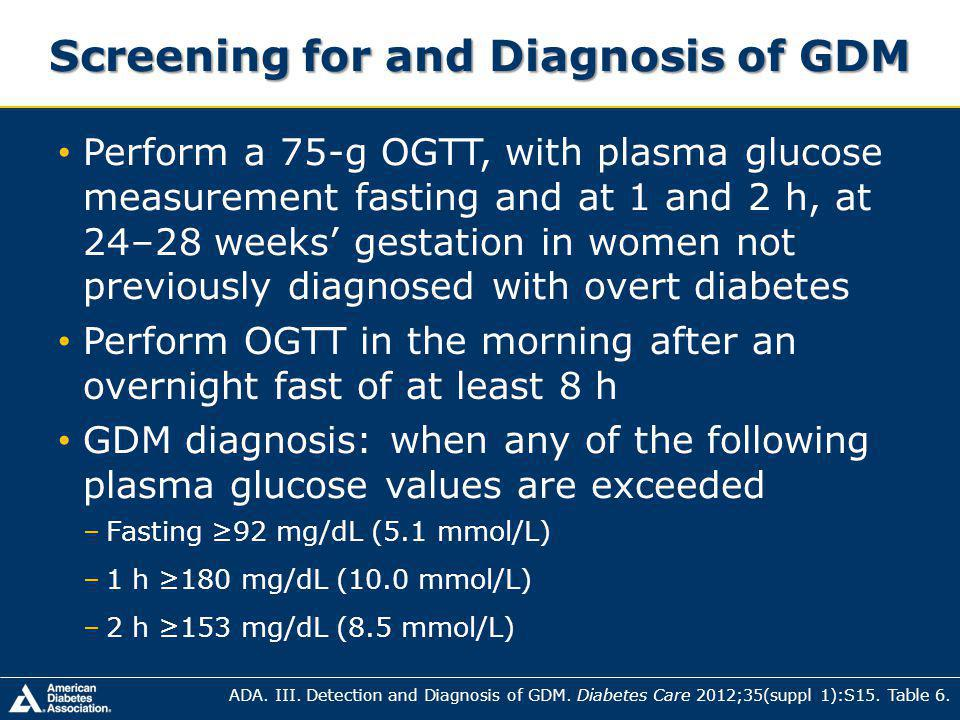 Screening for and Diagnosis of GDM
