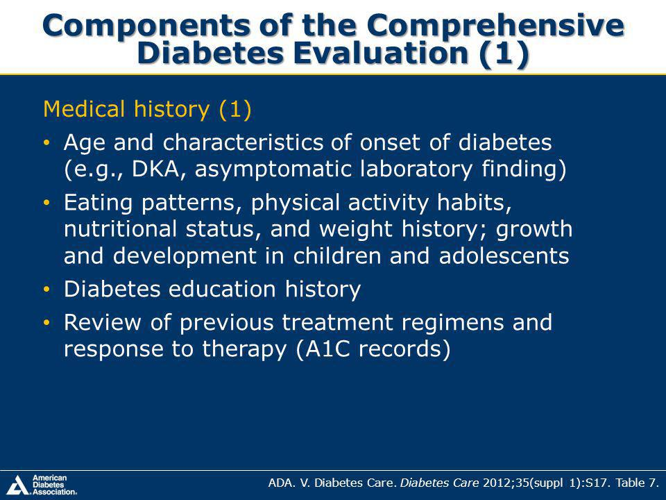 Components of the Comprehensive Diabetes Evaluation (1)