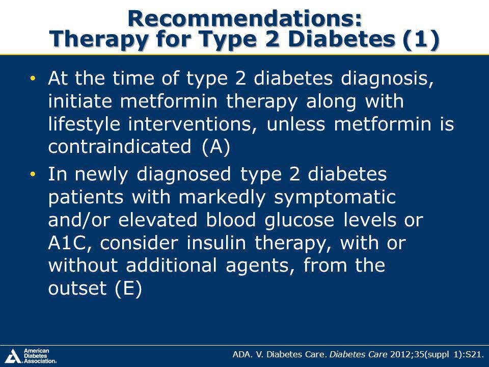 Recommendations: Therapy for Type 2 Diabetes (1)