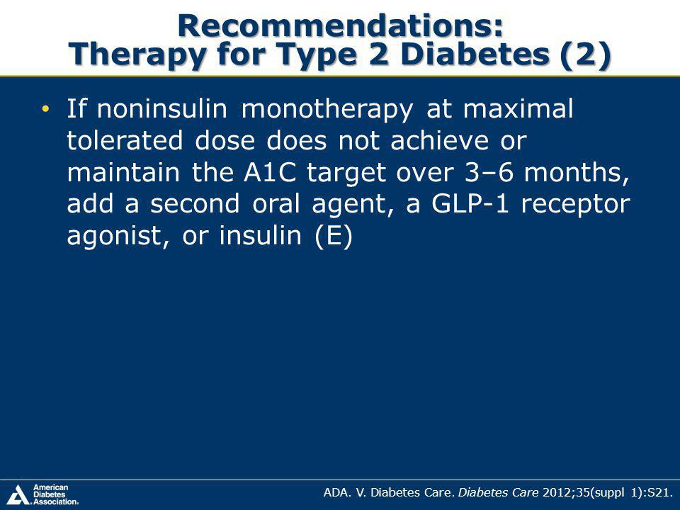 Recommendations: Therapy for Type 2 Diabetes (2)