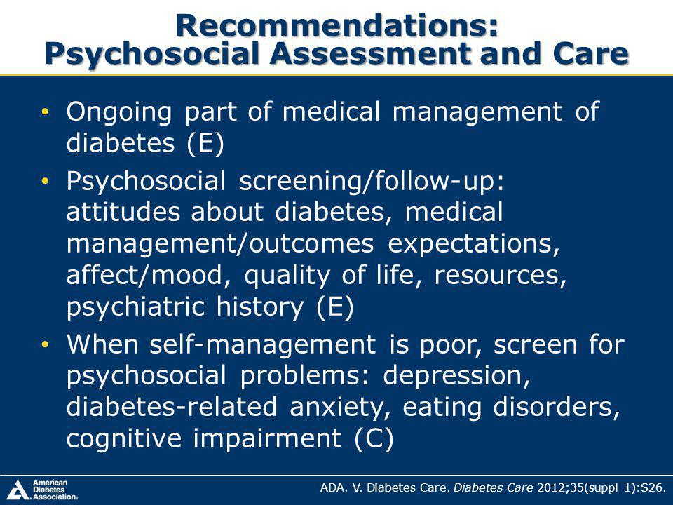 Recommendations: Psychosocial Assessment and Care